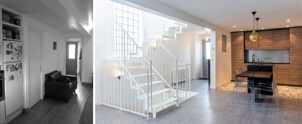 Avant - Après : Rénovation d\'une maison de ville avec un escalier ...