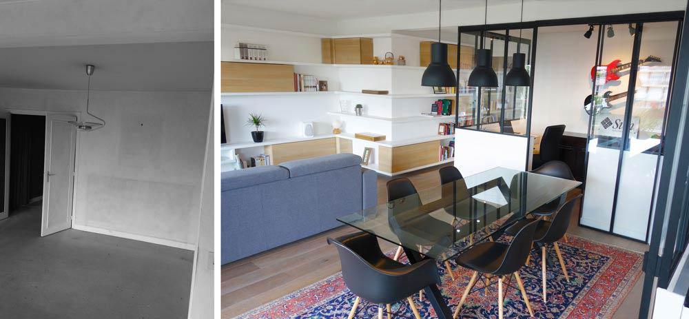 avant apr s am nagement d 39 un appartement avec un coin bureau privatif. Black Bedroom Furniture Sets. Home Design Ideas