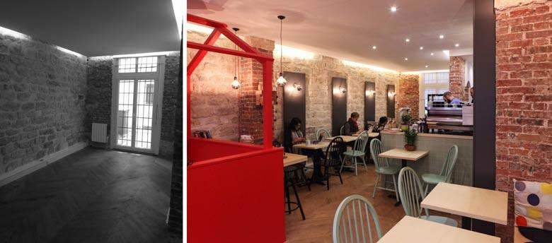 am nagement d 39 un coffee shop photos avant apr s d 39 un projet d 39 architecture commerciale paris. Black Bedroom Furniture Sets. Home Design Ideas