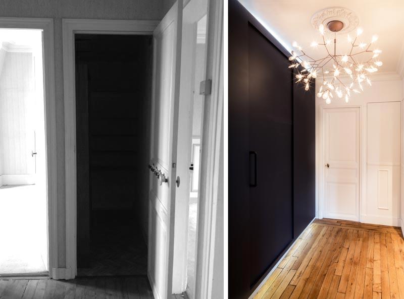 Avant aprés d'une rénovation d'un couloir dans un appartement