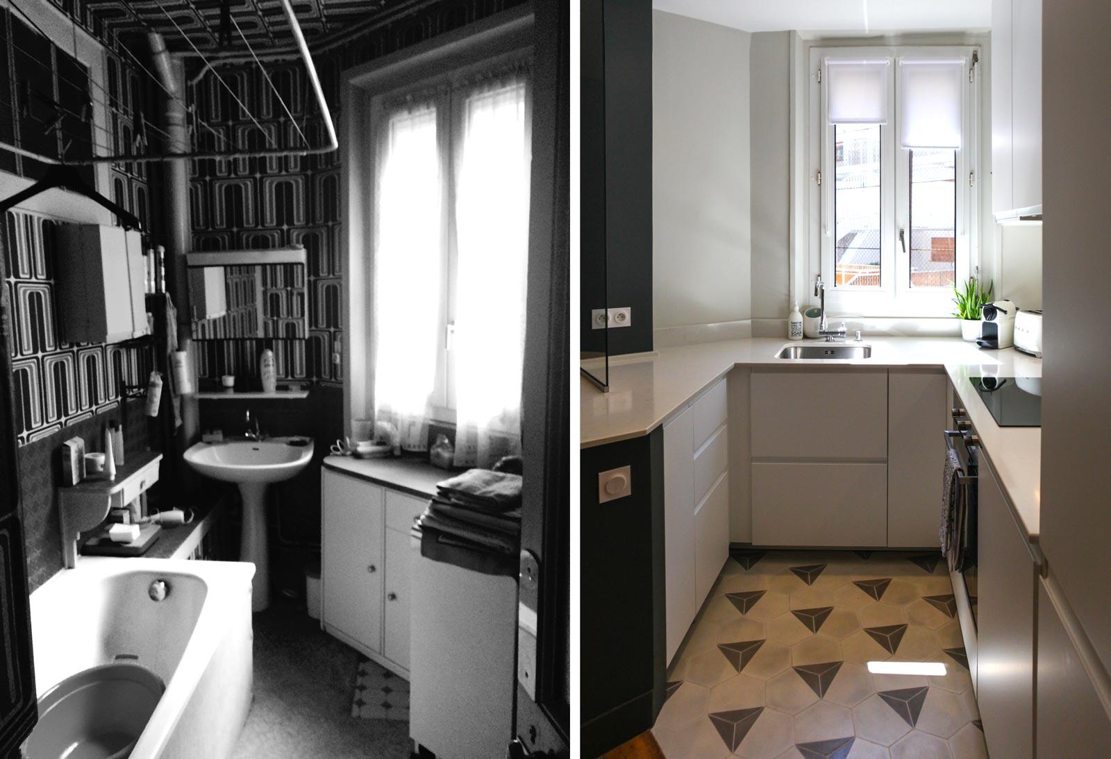 Photo avant après d'une cuisine plus lumineuse après les travaux de rénovation et d'aménagement