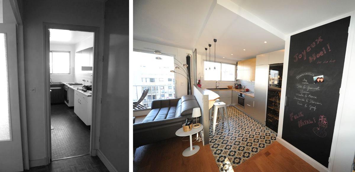 Avant apr s am magement appartement 3 pi ces 62m2 for Cuisine d appartement