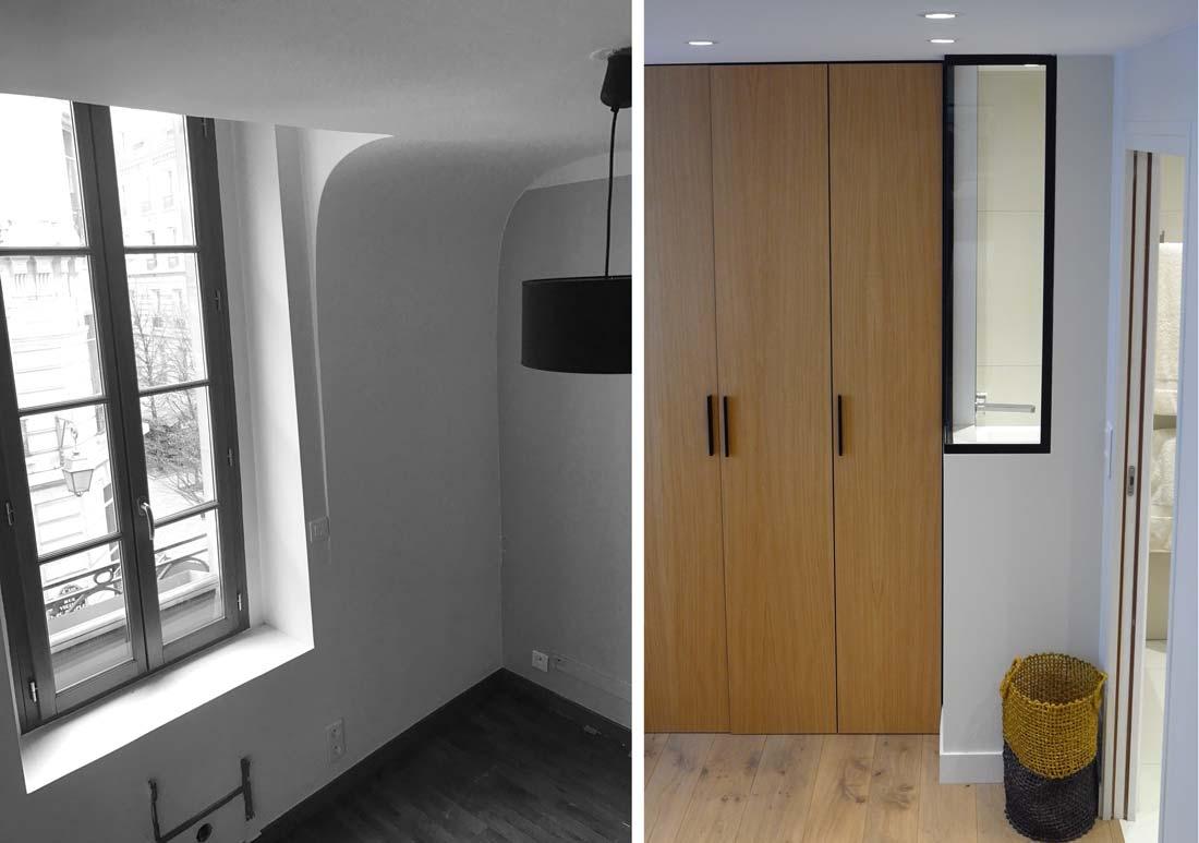 Placard de l'appartement à Paris après sa rénovation par un architecte d'intérieur