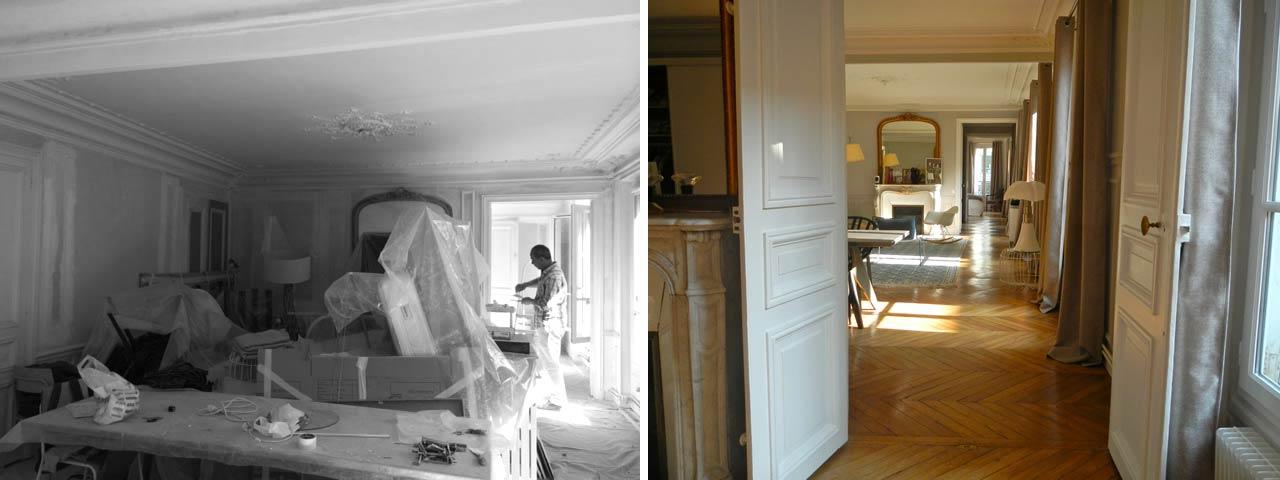avant apr s d coration appartement haussmannien 4 pi ces 105m2. Black Bedroom Furniture Sets. Home Design Ideas