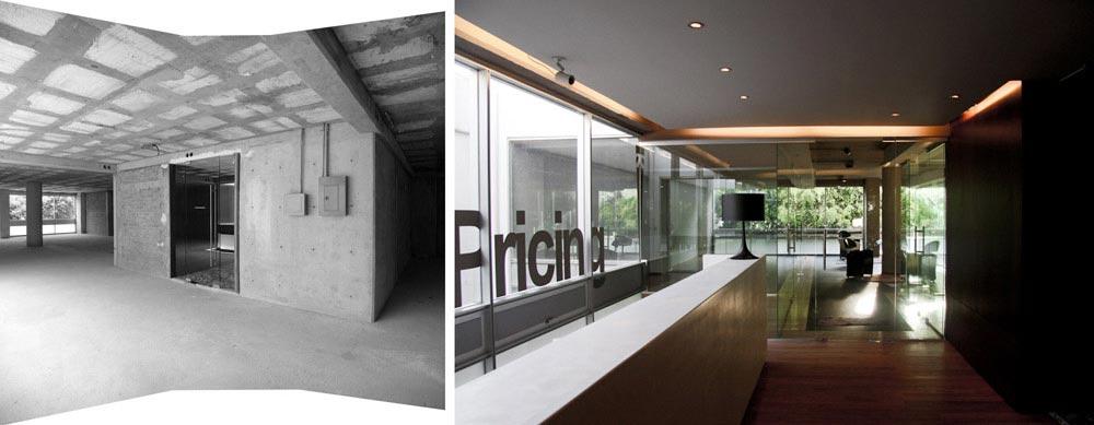 avant apr s am nagement des bureaux de 350m2 d 39 une entreprise. Black Bedroom Furniture Sets. Home Design Ideas