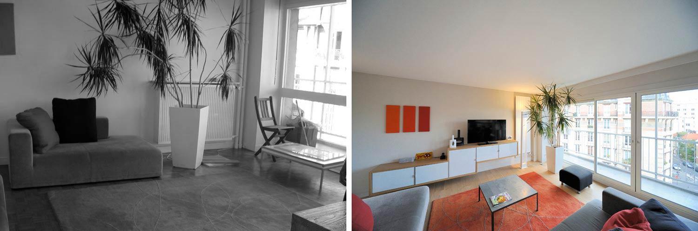 avant apr s r novation appartement dans une tour des ann es 70. Black Bedroom Furniture Sets. Home Design Ideas