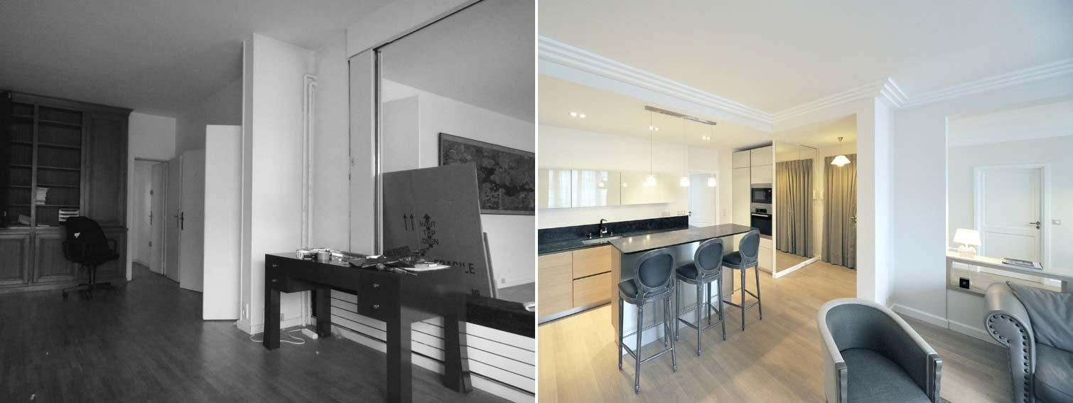 Avant apr s transformation d 39 un bureau en appartement for Architecte d interieur nord