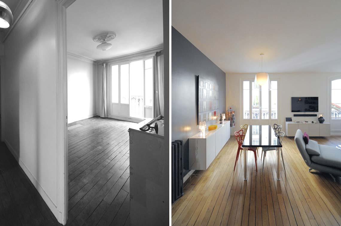 Avant apr s transformation d 39 un appartement de 65m2 du for Design interieur petit appartement