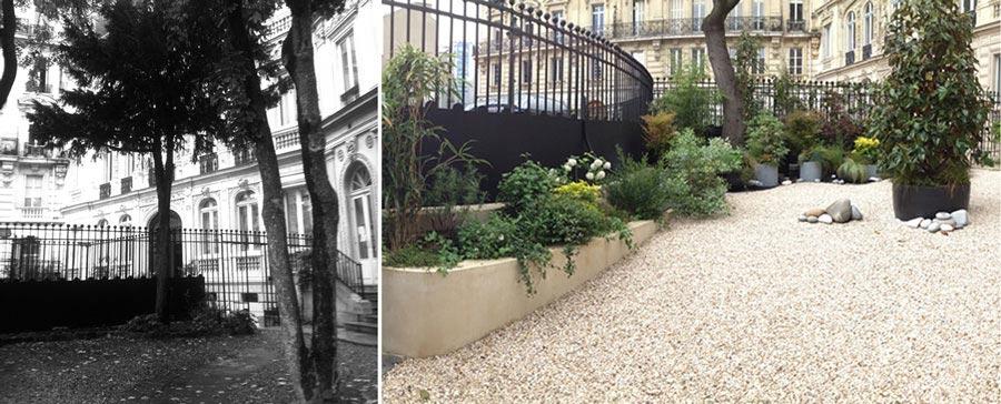 avant apr s am nagement d 39 un jardin dans la cour d 39 un h tel particulier. Black Bedroom Furniture Sets. Home Design Ideas