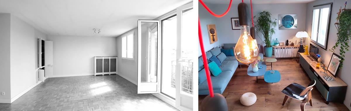 Décoration de l'appartement basé sur l'opposition du bleu et du bois