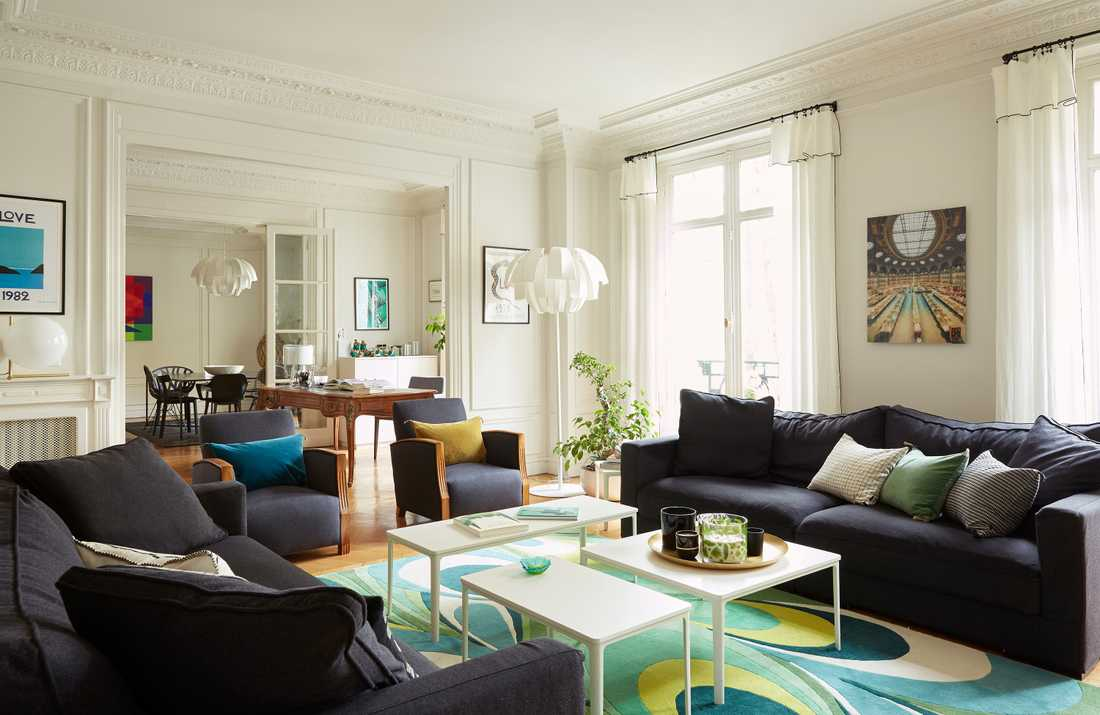 Rénovation du salon d'un appartement haussmannien à Bordeaux