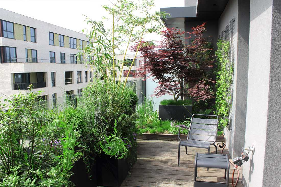Landscaping of a penthouse terrace in Bordeaux